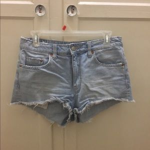 High-rise light wash shorts